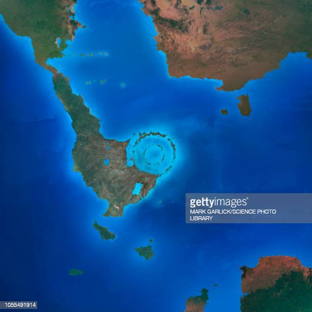 chicxulub impact crater, illustration - meteor crater stock illustrations