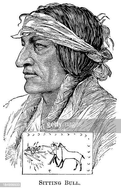 ilustraciones, imágenes clip art, dibujos animados e iconos de stock de jefe sioux toro sentado - indios americanos sioux