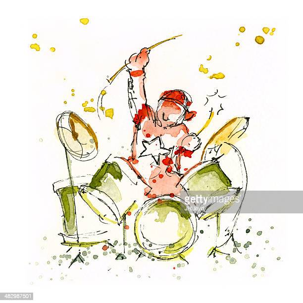 child drummer - snare drum stock illustrations, clip art, cartoons, & icons