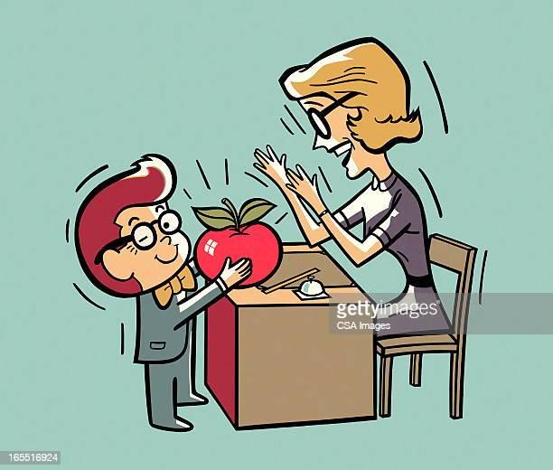 Child Giving an Apple to a Teacher