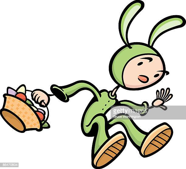 a child in a rabbit costume with an easter basket - easter bunny costume stock illustrations, clip art, cartoons, & icons