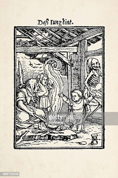 Child kidnapped by skeleton from dance of death after Holbein