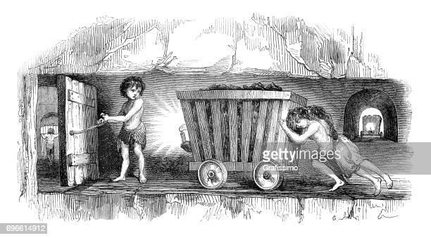 child labor children working in coal mine shaft england - 19th century stock illustrations