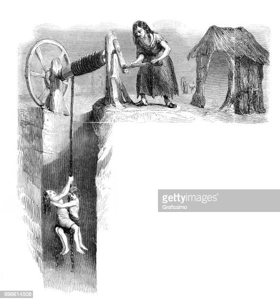 child labor woman and children working at coal mine england - 19th century stock illustrations