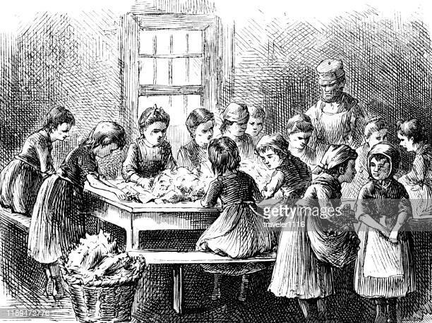 child laborers stripping tobacco in new york 1873 - child labor stock illustrations