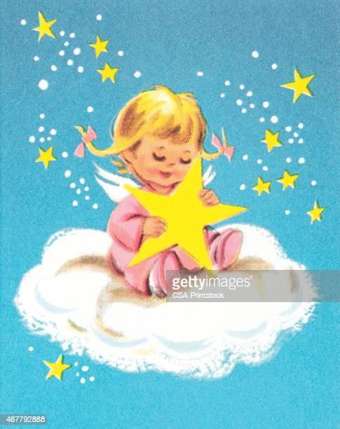 Niño en nube con estrellas