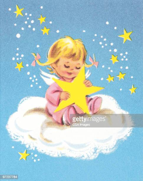 child on cloud with star - cherub stock illustrations