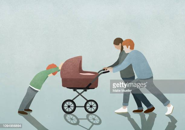 child resisting parents pushing baby stroller - carriage stock illustrations