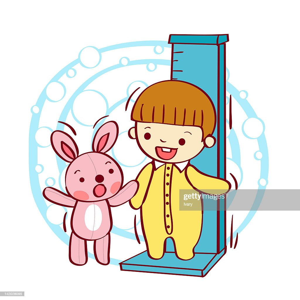 Child standing on height chart with teddy bear : stock illustration