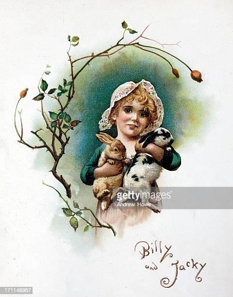 Child with Rabbits Illustration