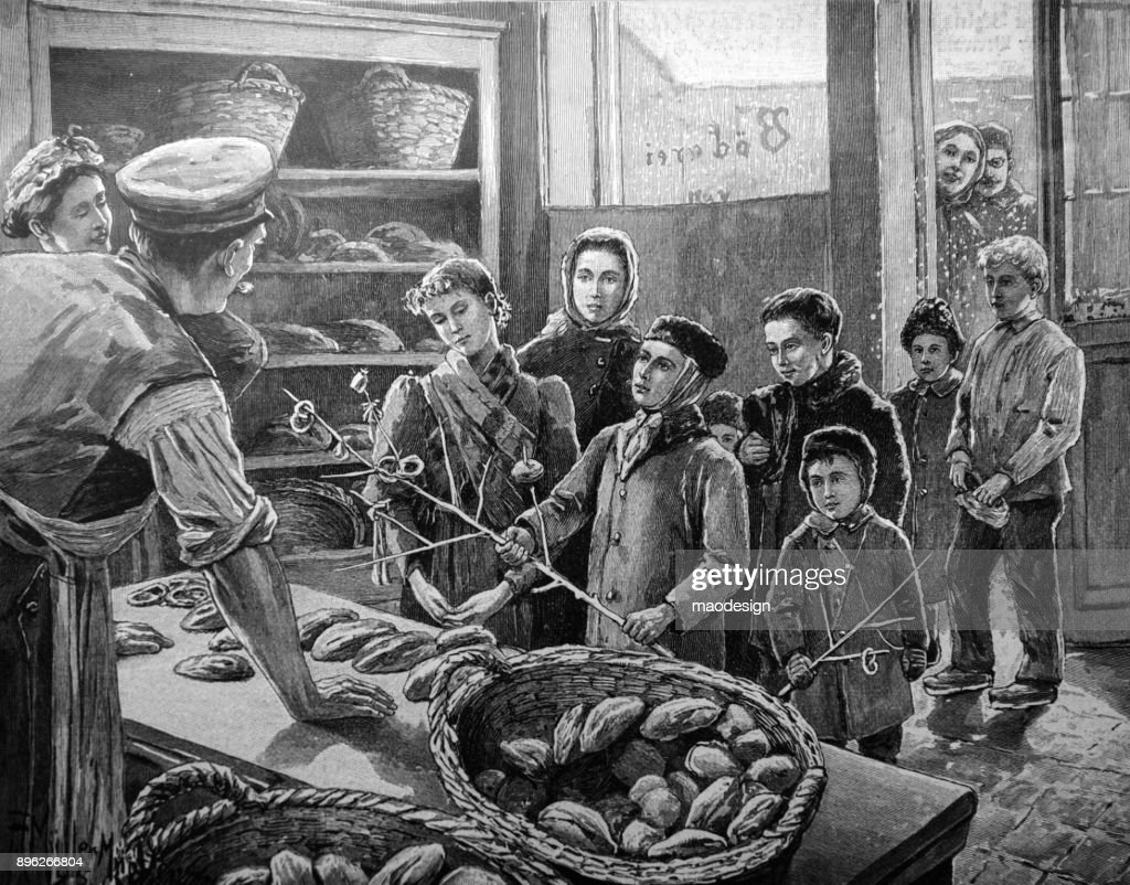 Children are waiting for bread at the baker's in winter : stock illustration