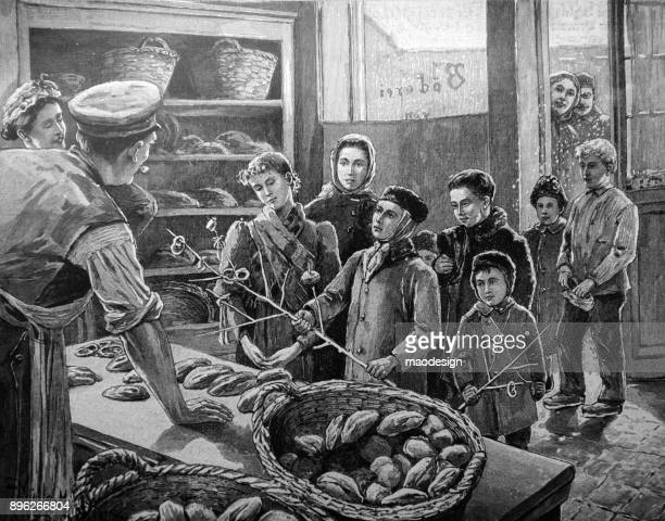 Children are waiting for bread at the baker's in winter