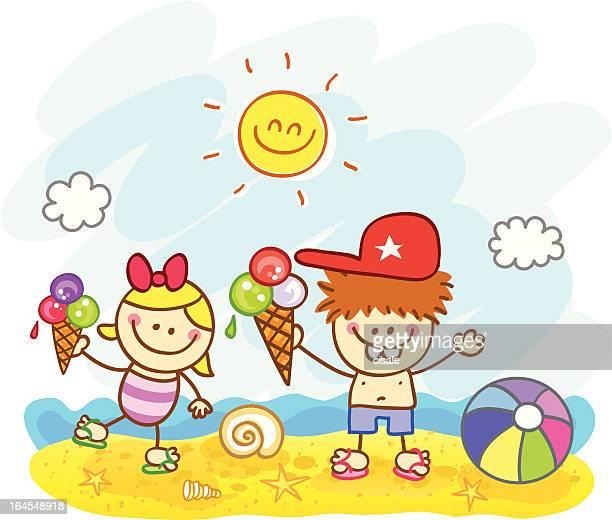 children at beach cartoon illustration - eating ice cream stock illustrations, clip art, cartoons, & icons