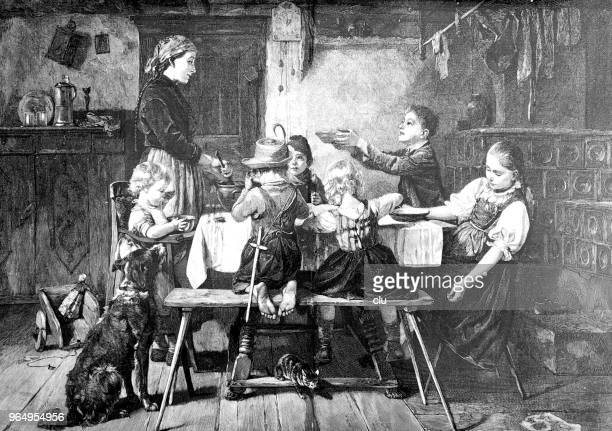 children at the table eating - dog eating stock illustrations, clip art, cartoons, & icons