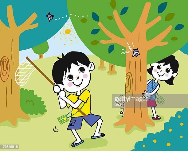 illustrations, cliparts, dessins animés et icônes de children catching cicadas, painting, illustration, illustrative technique, front view - cigale
