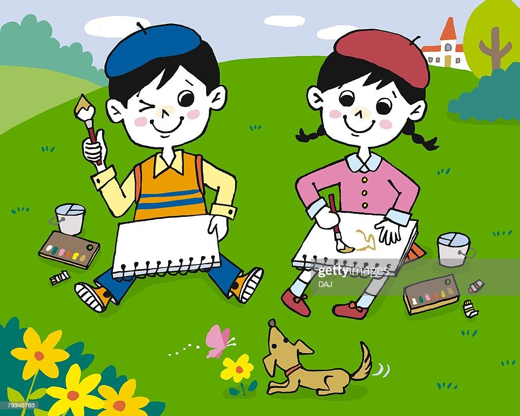 children drawing pictures painting illustration illustrative technique front view - Children Drawing Pictures For Painting