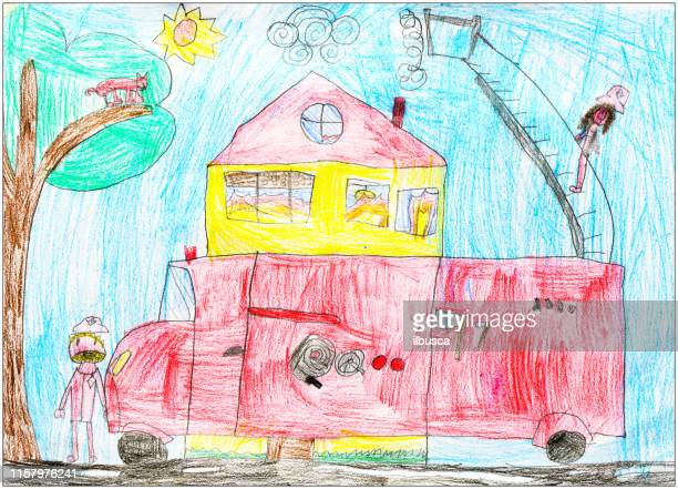 children drawings, sketches and doodles: fire brigade truck - childhood stock illustrations