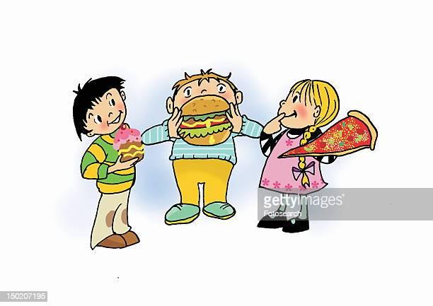 ilustraciones, imágenes clip art, dibujos animados e iconos de stock de children eating junk food - obesidad infantil