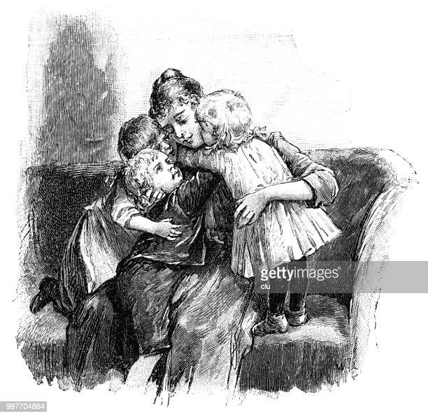 children embrace their mother on the sofa - kids hugging mom cartoon stock illustrations