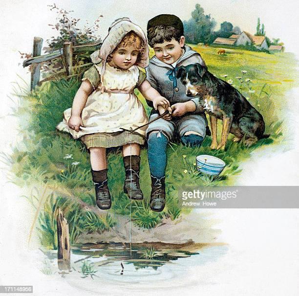 children fishing illustration - hood clothing stock illustrations