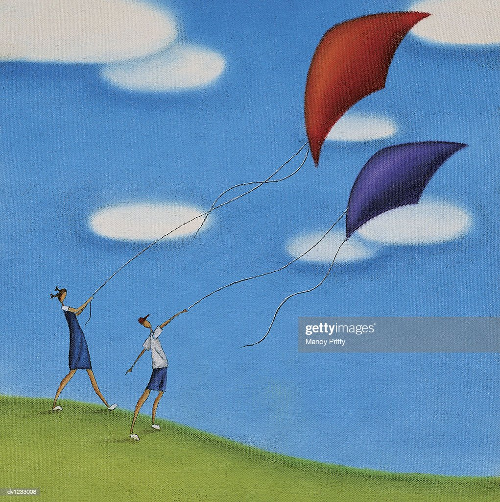 Children Flying a Kite on a Hill : Stock Illustration