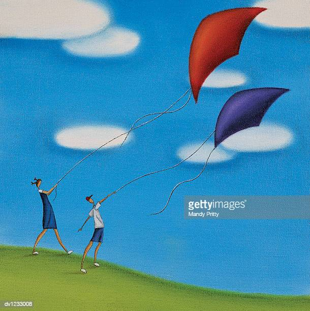 children flying a kite on a hill - mandy pritty stock illustrations