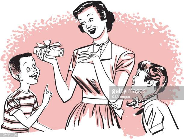 children giving gifts - giving stock illustrations