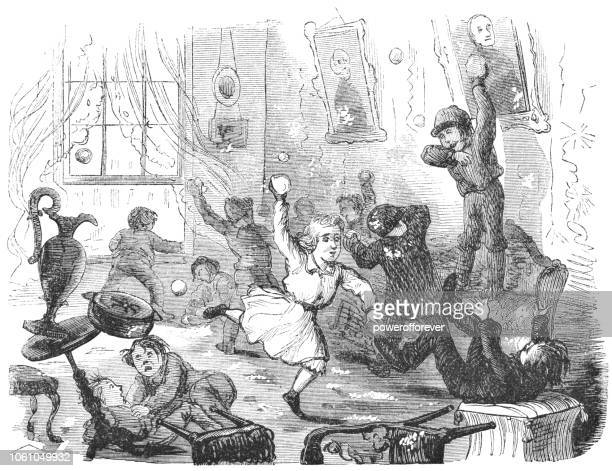 children having a snowball fight indoors (19th century) - naughty america stock illustrations, clip art, cartoons, & icons