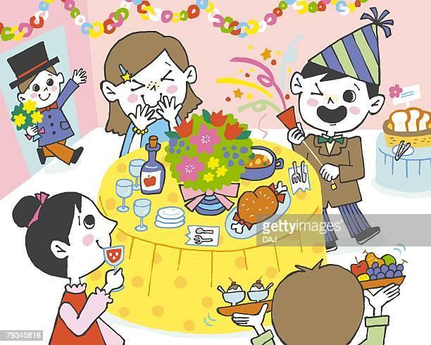ilustraciones, imágenes clip art, dibujos animados e iconos de stock de children having party, painting, illustration, illustrative technique - pollo asado