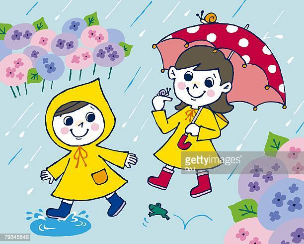 children in rain, painting, illustration, illustrative technique, front view - rainy season stock illustrations, clip art, cartoons, & icons