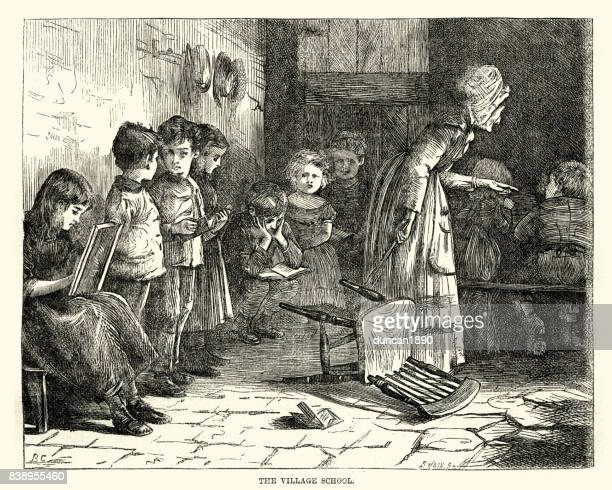 Children learning to read, Victorian village school, 1870