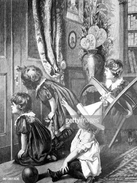 ilustraciones, imágenes clip art, dibujos animados e iconos de stock de niños mirando por la cerradura, a la espera de santa claus - ojo de cerradura