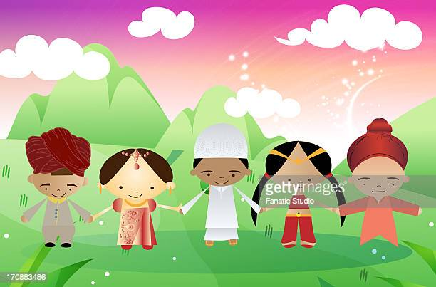 children of different religions joining hands together, india - hinauf bewegen stock illustrations