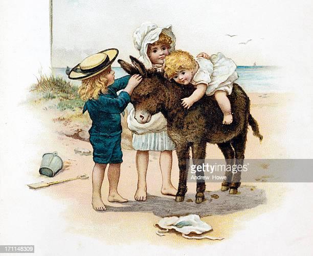 children on a beach donkey illustration - donkey stock illustrations, clip art, cartoons, & icons