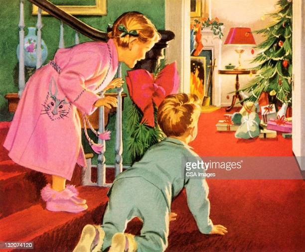 children on christmas morning - old fashioned stock illustrations