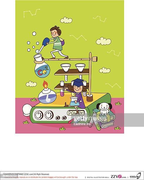 illustrations, cliparts, dessins animés et icônes de children performing a scientific experiment - science et technologie