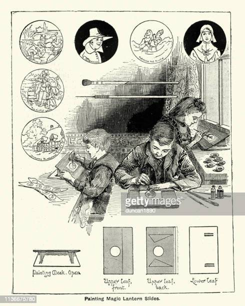 Children playing having fun making magic lantern slides, Victorian