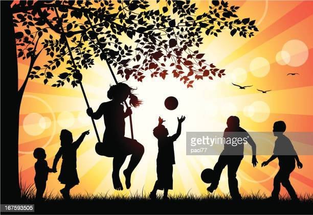 children playing in the park - solar flare stock illustrations, clip art, cartoons, & icons