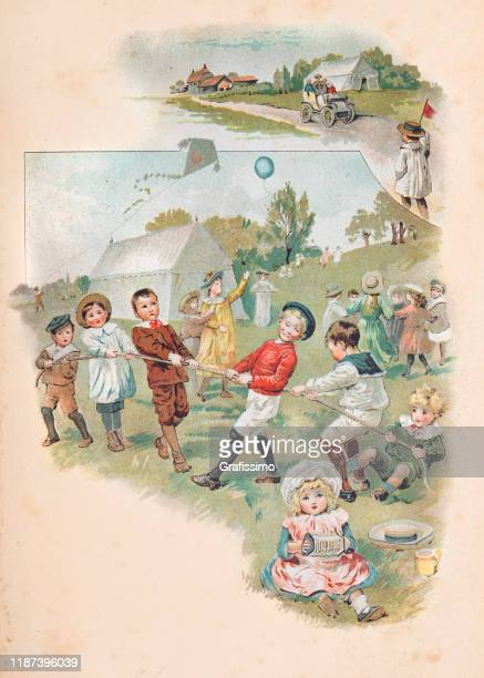 children playing outdoors skipping rope tug of war 1900 - 1900 1909 stock illustrations