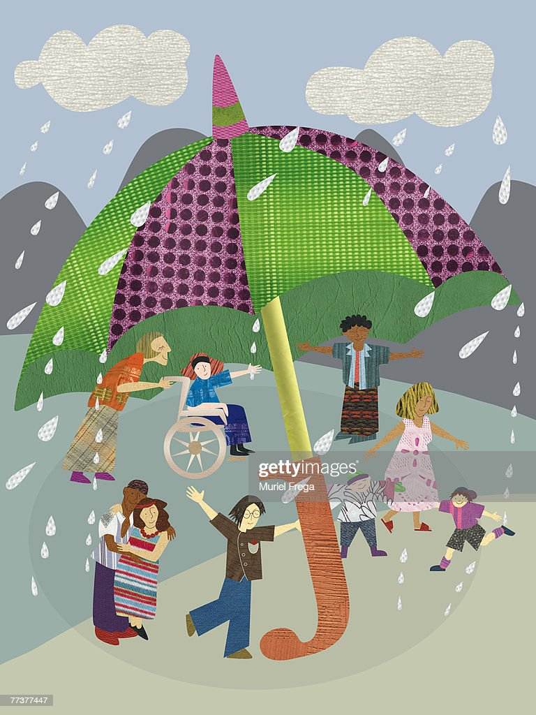 Children playing under a giant umbrella on a rainy day : Illustration