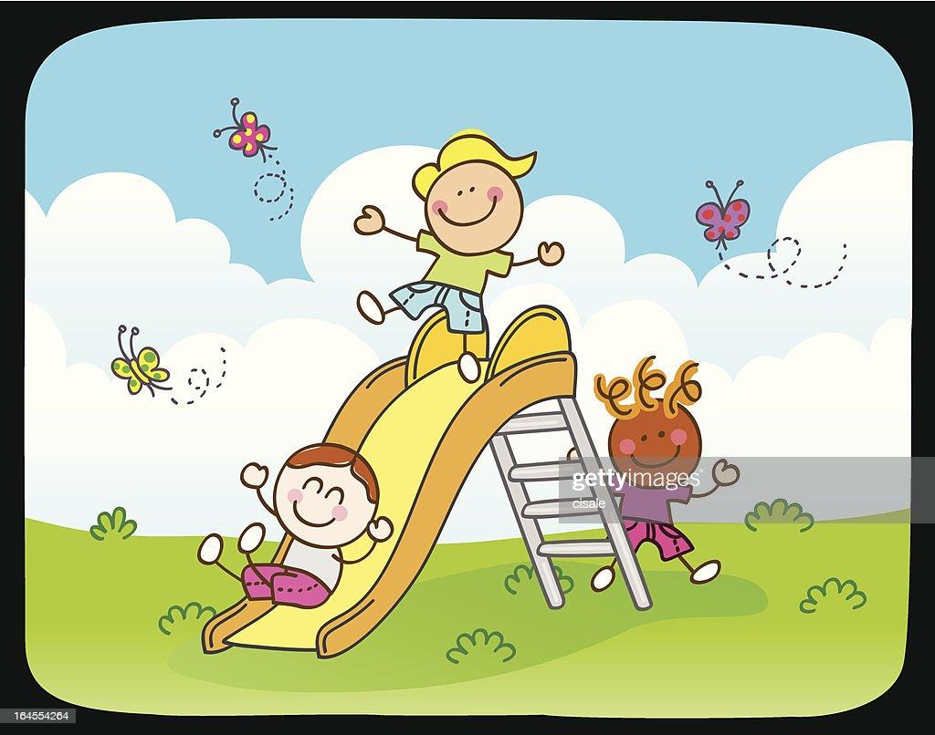 Children playing with slide in summer,spring nature cartoon illustration : stock illustration