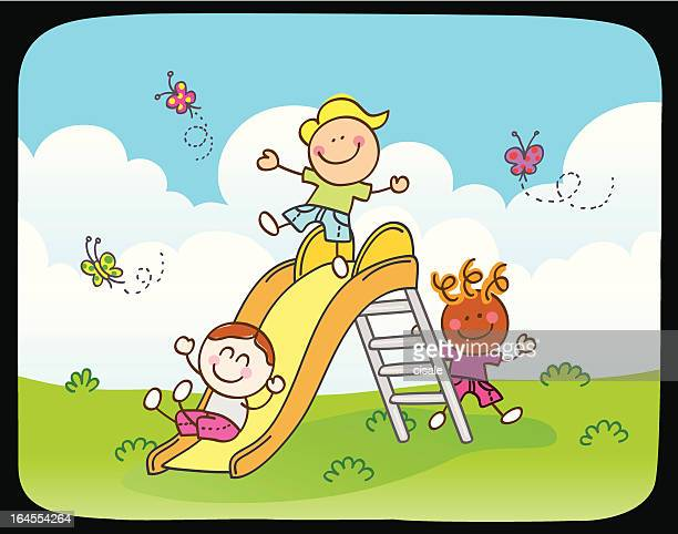 Children playing with slide in summer,spring nature cartoon illustration