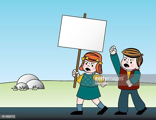illustrations, cliparts, dessins animés et icônes de enfants protestant - seulement des enfants