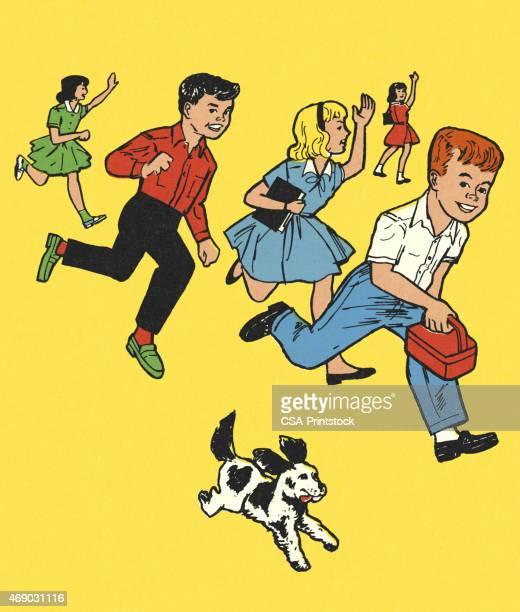 Crianças a correr e