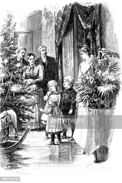 children see the illuminated christmas tree and the gifts - christmas past and christmas present stock illustrations