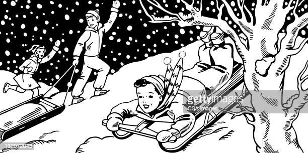 children sledding - tobogganing stock illustrations, clip art, cartoons, & icons