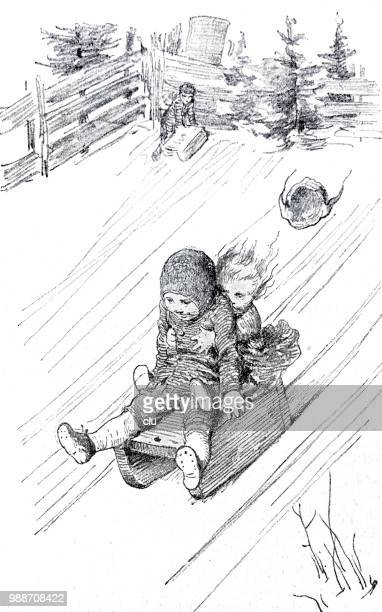 children sledding on the slope - tobogganing stock illustrations, clip art, cartoons, & icons