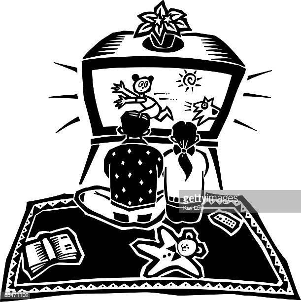 ilustraciones, imágenes clip art, dibujos animados e iconos de stock de children watching tv too close to the screen and at high volume - familia viendo tv