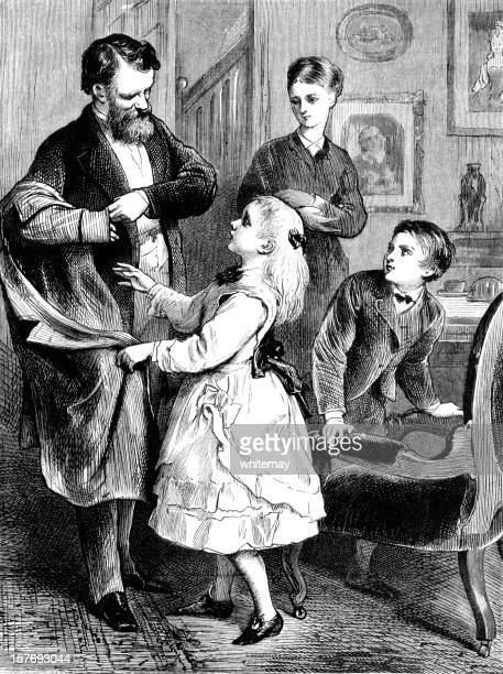 Children welcoming their father home (Victorian illustration)