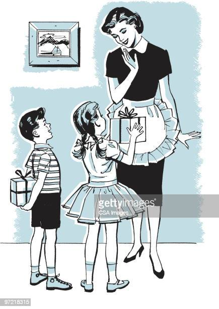 children with gifts - mothers day stock illustrations